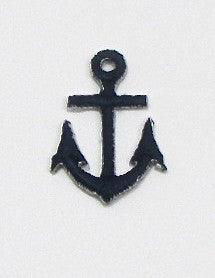 "Anchor, Navy Blue Embroidered Iron-On, 1"" x .75"""