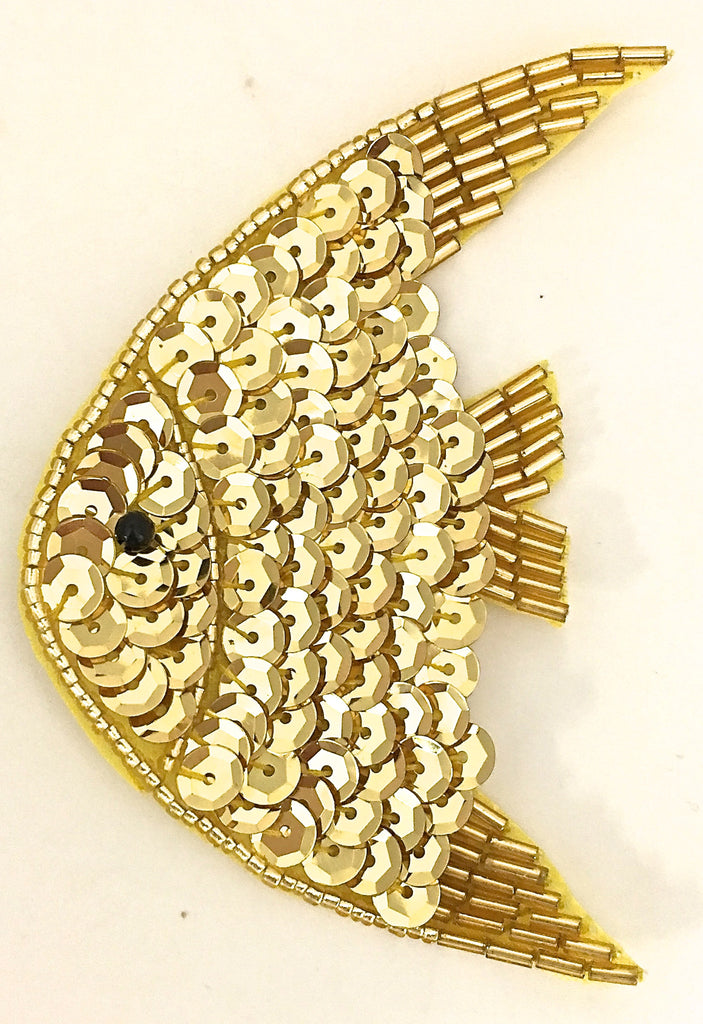 "Fish with Gold Sequins and Beads 4"" x 2.5"""