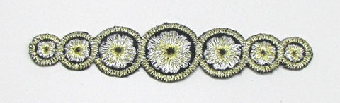 "Designer Motif Black, Silver and Gold Metallic Circles, Embroidered Iron-On  4.5"" x 1"""
