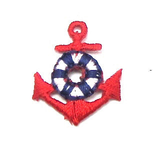 "Anchor, Red with Blue and White Lifesaver, Embroidered Iron-On  1"" x .75"""