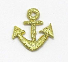 "Load image into Gallery viewer, Anchor, Gold metallic embroidered iron-On  1"" x 1"" - Sequinappliques.com"