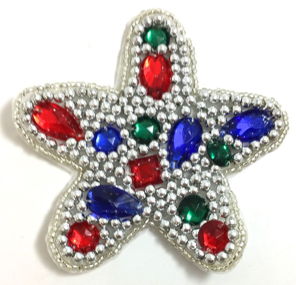 Star Shape with Beautiful Mixed Colored Jewels and Silver Beads 3.75""