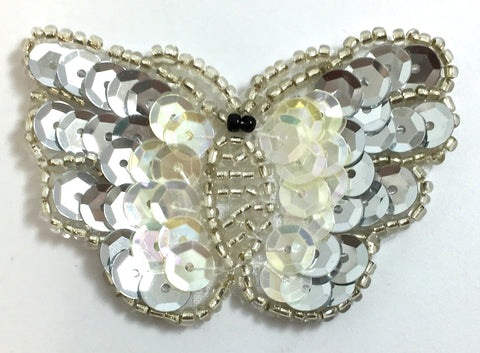 "Butterfly with Silver and Iridescent Sequins and Beads 1.5"" x 2.25"""