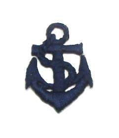 "Anchor with Rope, Navy Blue Embroidered Iron-On 1.5"" x 1"""