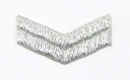 "Chevron, Metallic Silver Embroidered Iron-On  approx. 2"" x 1/2"""