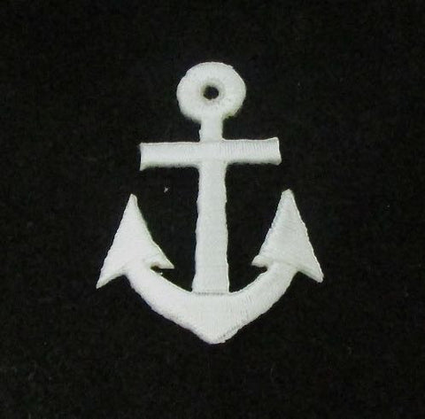 "Anchor, White Embroidered Iron-On  1.75"" x 1.25"""