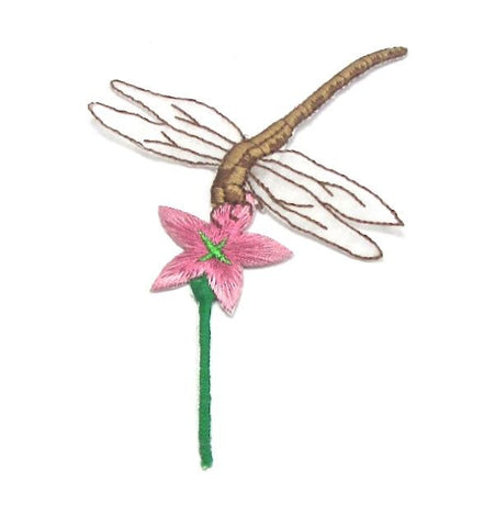"Dragonfly, Brown with White Wings on Pink Flower, Embroidered Iron-On  4.75"" x 3.25"""