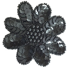 Flowers Two Colors Black and Silver 2.5""