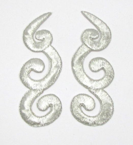 "Designer Motif Pair, Metallic Silver Embroidered Iron-On  3.75"" x 1.25"""