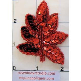 "Leaf Single with Red Sequins 2"" x 2"""