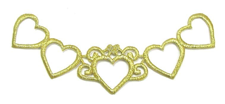 "Hearts, Designer Motif, Metallic Gold Embroidered Iron-On 6.25"" x 1.5"""