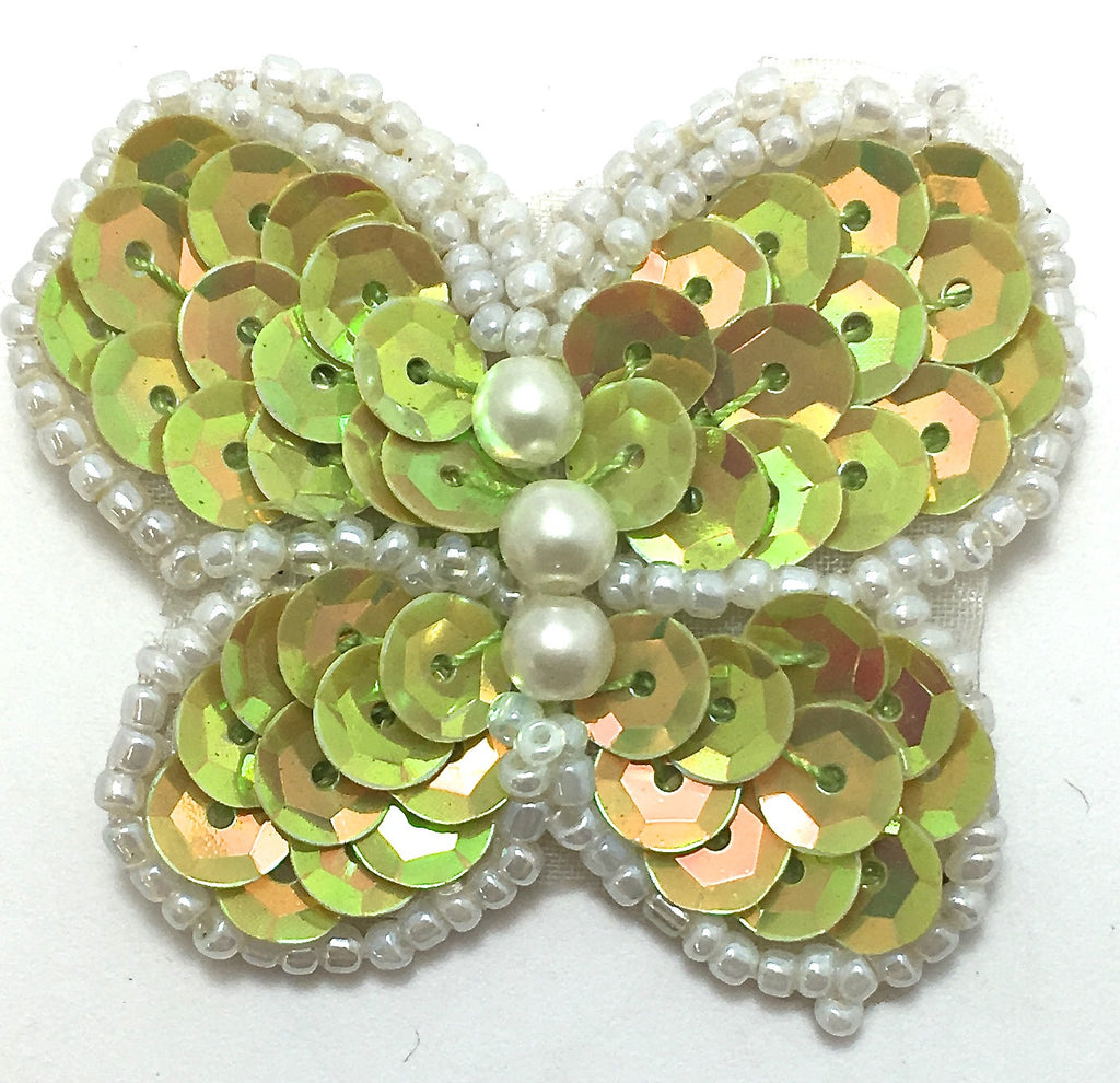 "Butterfly with Lite Lime Sequins and White Beads 2"" x 2"""