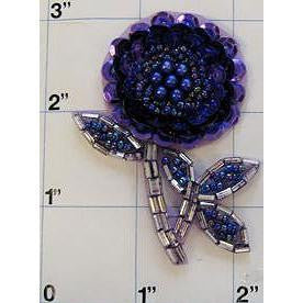 "Flower Dark Purple Sequins Silver Beads 2.5"" x 2"""