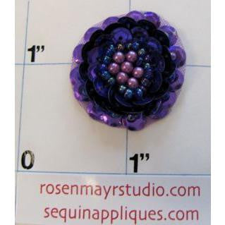Flower with Dark Purple Sequins and Beads 1""