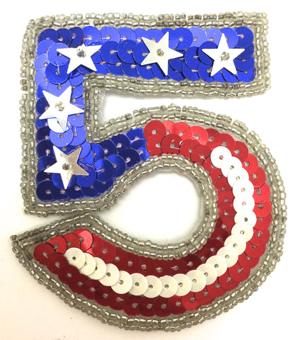"Number 5 with Red White and Blue Stars Sequins and Beads 3"" x 3.5"""