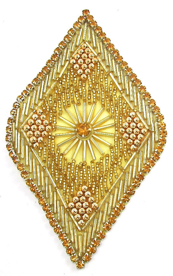 "Designer Motif Triangle with Many gold Rhinestones and Gold Beads 6"" x 4"""