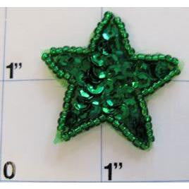 Star with Green Sequins and Beads 1.25""