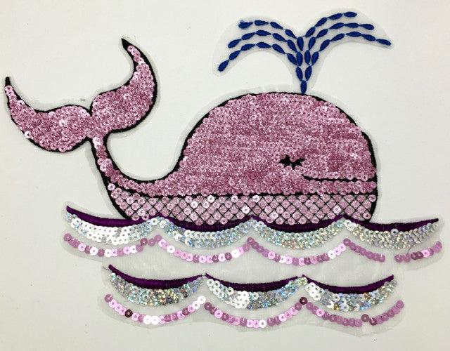 "Whale Spouting Water with Lite Mauve Sequins on Netting 8.5"" x11.5"""