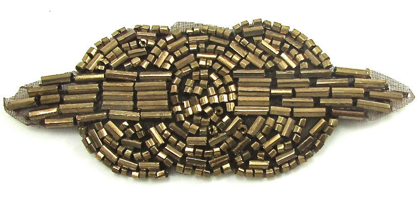 "Designer Motif Triple Circle with Bronze Beads 1.5"" x 3.5"""