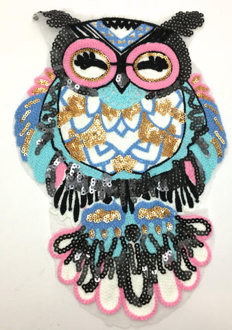 "Owl with Multi-Colored Sequins and Embroidery  16.5"" x 8"""