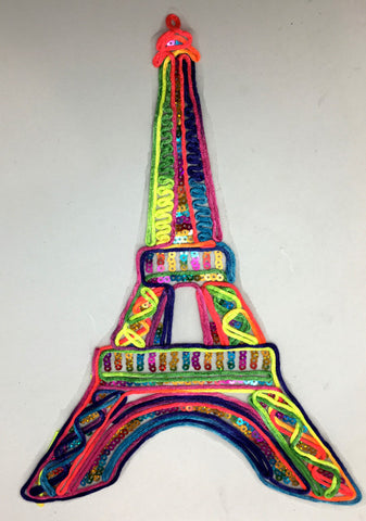 "Eiffle Tower Embroidered Applique with Multi-colored Yarn and Sequins 13"" x 9.5"""