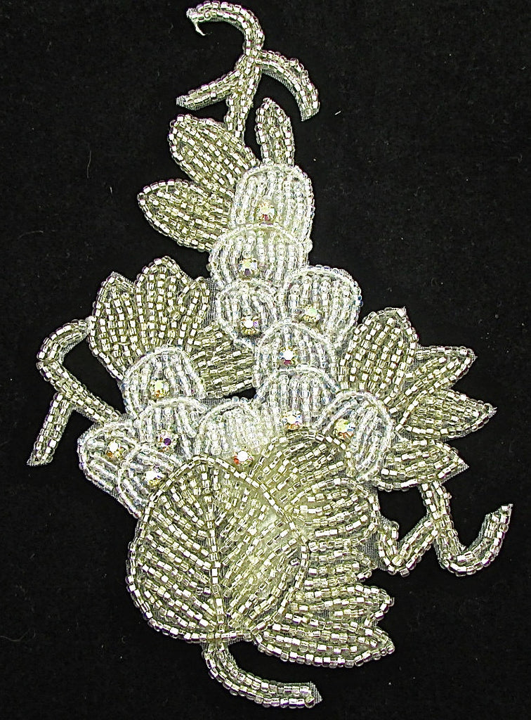 "Designer Motif Cluster of Flower and Leaves Silver Beads and 12 AB Rhinestones 6.5"" x 4"""