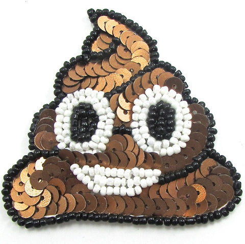 "Poo Emoji with Brown Sequins White Black Beads   2.5"" x 2.5"""
