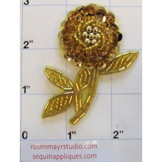 "Flower with Sequins and Beads Gold, 2.5"" x 2"""