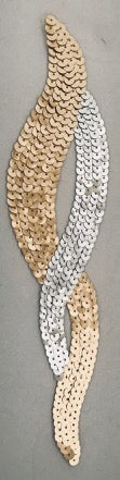 "Designer Motif Twist with Silver and Gold Sequins 10.5"" x 2.5"""