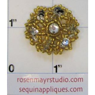 Flower Beads with Crystals Gold, 1""