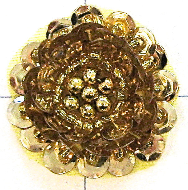 Flower With Raised Sequin Beads Gold, 1""