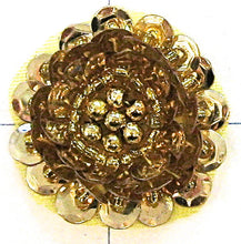 Load image into Gallery viewer, Flower With Raised Sequin Beads Gold, 1""