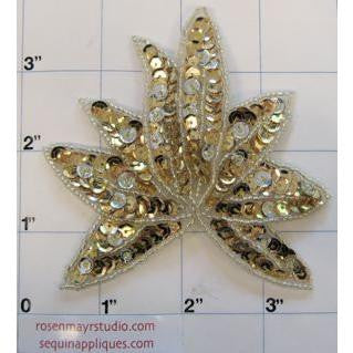 Leaf Gold Sequins Silver Beads IMG_