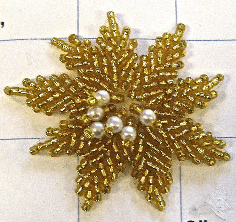 Flower with Gold and White Beads 2.25""