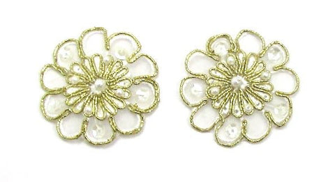 Flower Pair, Metallic Gold with Clear Sequins and Pearls, Embroidered  2""