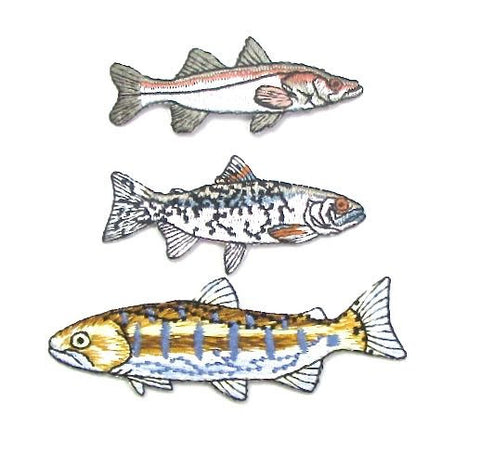 "Fish, Set of Three Various, Embroidered Iron-On  3"" - 3.25"""