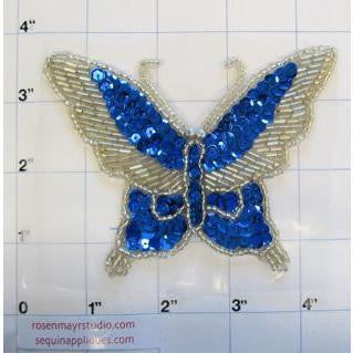 "Butterfly Turquoise and Silver Sequins 3"" x 4"""