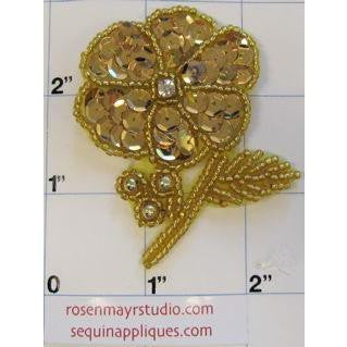"Flower with Gold Sequins Gold Beads and Leaf w/ Rhinestone 2.75"" x 2.5"""