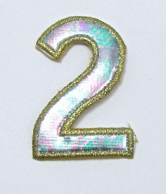 Number 2 Two, Satin Multi-Colored with Gold Metallic Trim, Embroidered Iron-On  2""