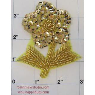 "Flower With Stem Gold, 3.5"" x 3"