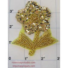 "Load image into Gallery viewer, Flower With Stem Gold, 3.5"" x 3"
