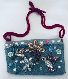 "Handbag Custom Made Blue Jeans and Appliques 10"" x 7"""