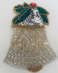 Christmas Bell with Gold and Silver Beads and Sequins  Two Sizes