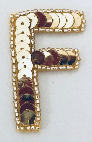 Letter F with Gold Sequins and Beads 2