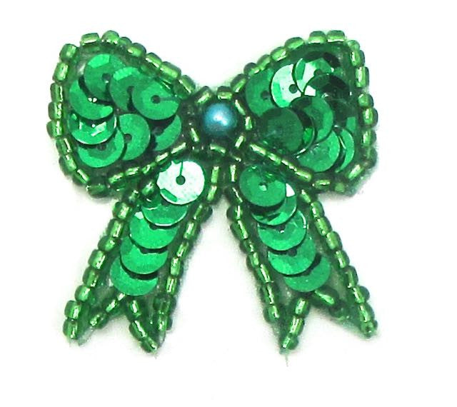 "Bow with Green Sequins, Beads and Pearl 1.25"" x 1.25"""