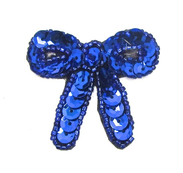 "Bow with Blue Sequins and Beads Pre-Glued  1.75"" x 1.5"""