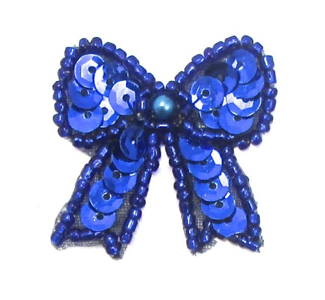 "Bow with Blue sequins, Beads and Pearl  1.25"" x 1.25"""