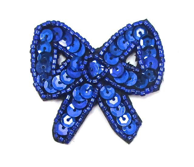 "Bow with Blue Sequins and Beads  1.75"" x 1.75"""