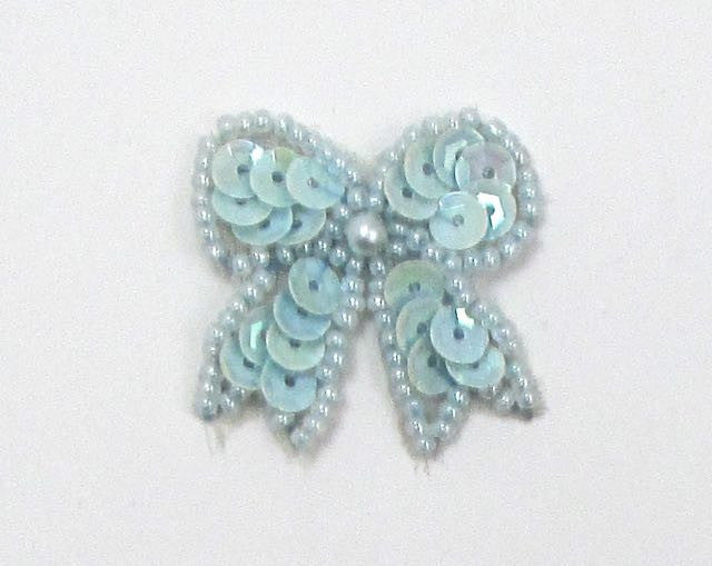 "Bow with Baby Blue Sequins, Beads and Pearl  1.25"" x 1"""