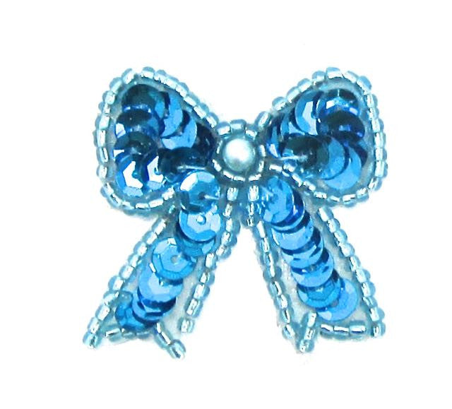 "Bow with Turquoise Sequins Beads and Pearl Pre-Glued 1.25"" x 1.25"""